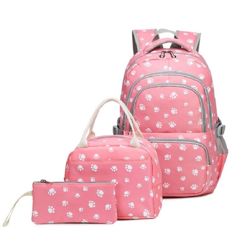 M305 Cross-Border 2019 nouveau sac à dos imprimé mignon femme ordinateur sacs à dos étudiant sac 3 pièces ensemble crayons sacs ensemble trois pièces