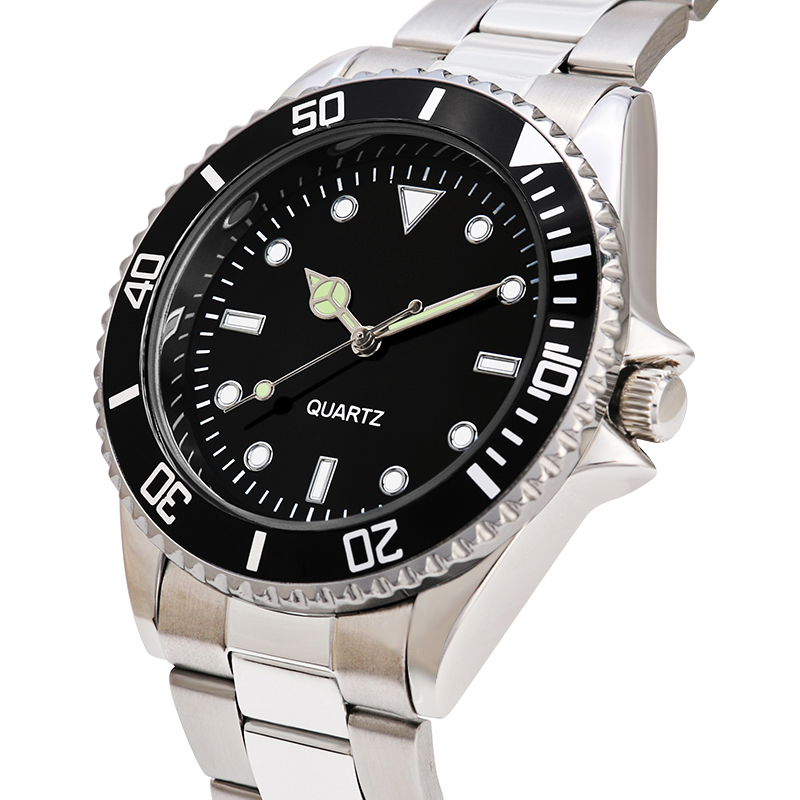 304 stainless steel band business watch for men luxury mens watches water proof rotary bezel black dial in Quartz Watches from Watches