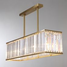 All-copper post-modern dining room lamp crystal chandelier light luxury American table lighting Fixture