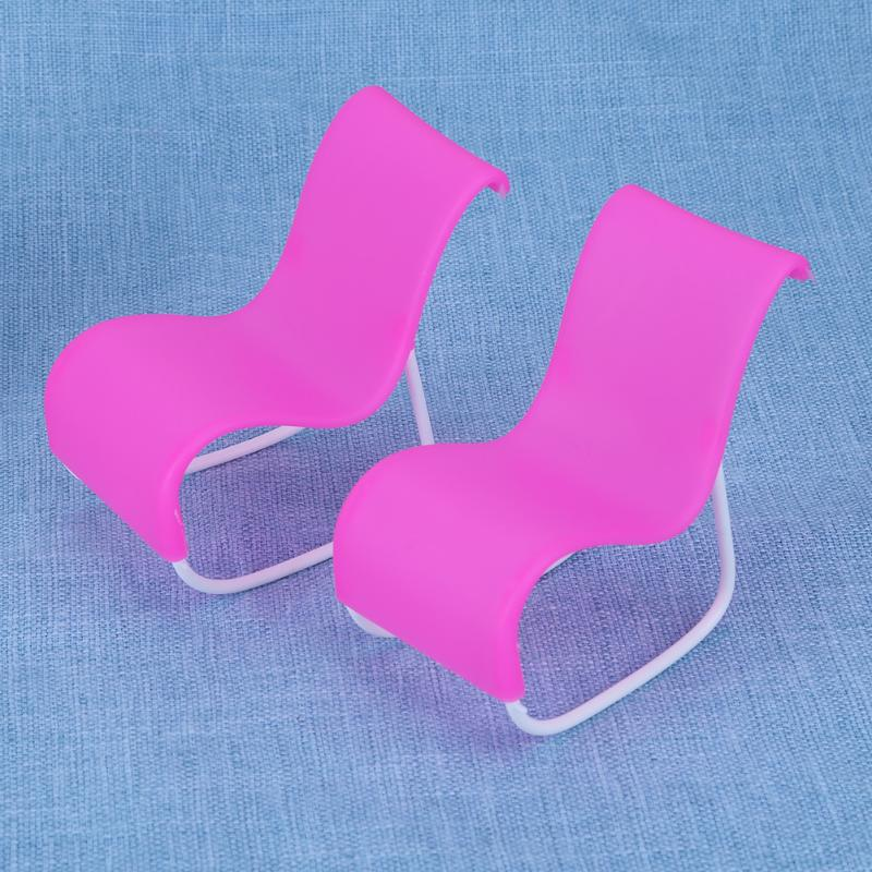 2pcs/set Rocking Beach Lounge Chair for Baby Doll Pink Chairs Dream House Livingroom Garden Furniture Babies Dolls Accessories
