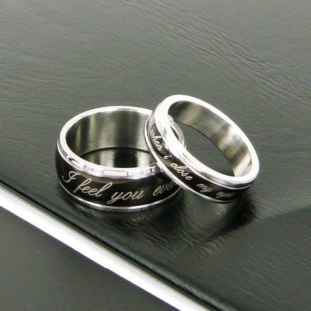 Wholesale best selling New Guaranteed 100% 5MM/8MM modish Stainless Steel Laser Couples Ring + free shipping