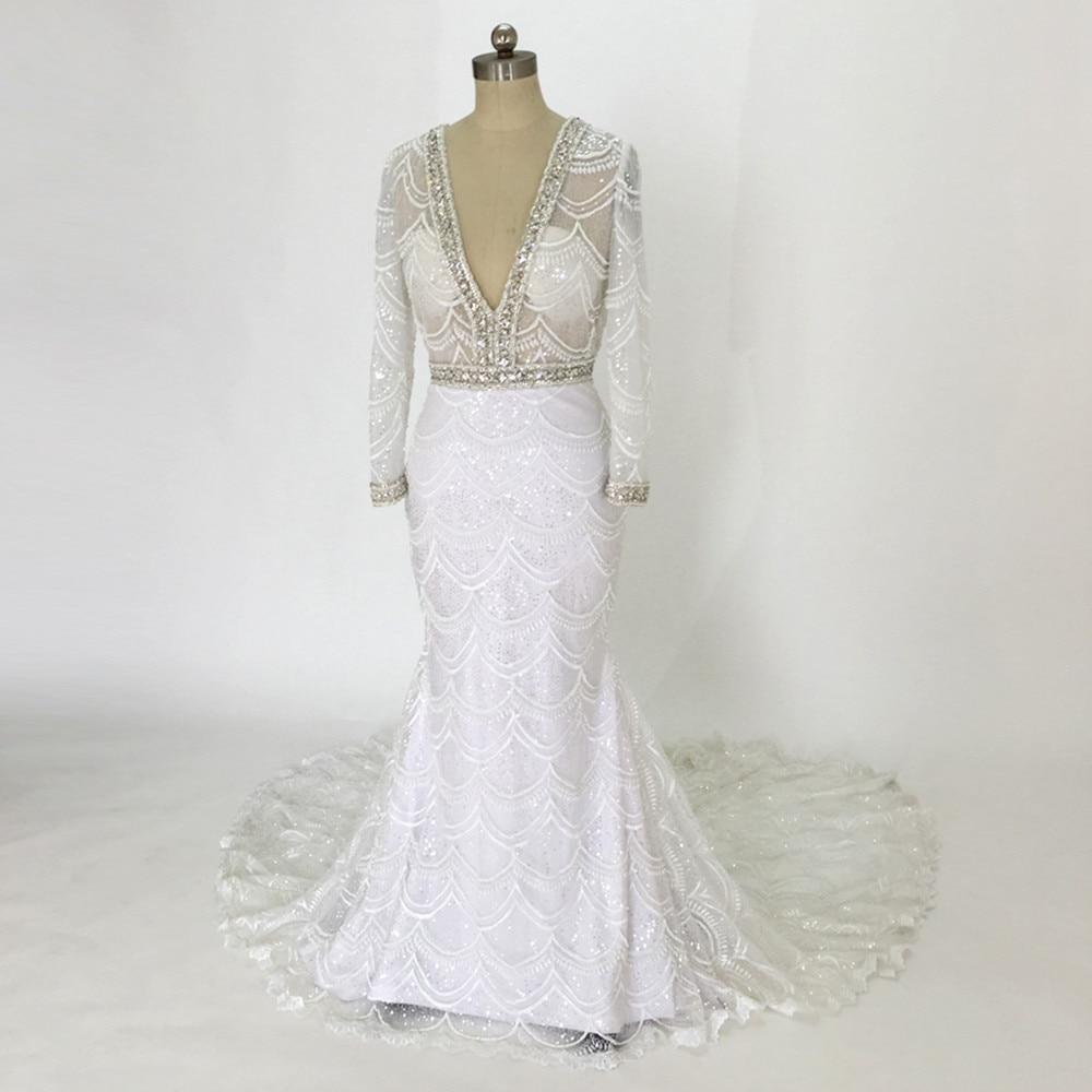 spetsar brudklänningar 2017 sjöjungfru brudklänning fulla pärlor - Bröllopsklänningar - Foto 1