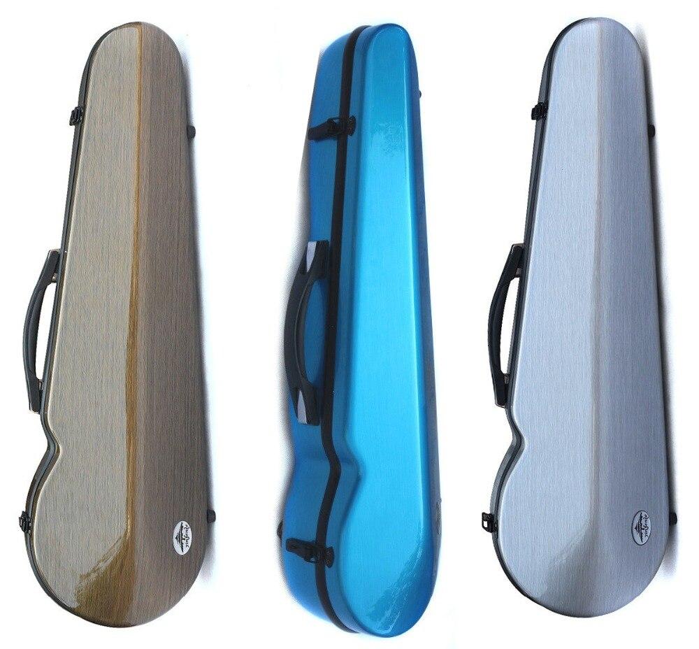 Yinfente fibre de carbone violon Case 4/4 fort violon boîte gris bleu couleur lumière pour fille