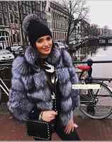 Top luxury Pairs Collections Christmas Gift Natural fox fur coats with stand collar Stunning amazing wholepelt fur jackets