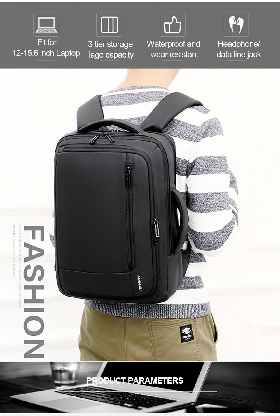 2 Multifunction USB Backpack Man Bag 15.6inch Laptop Backpacks Travel Bags Large Capacity Luggage Backpacking Waterproof Notebook