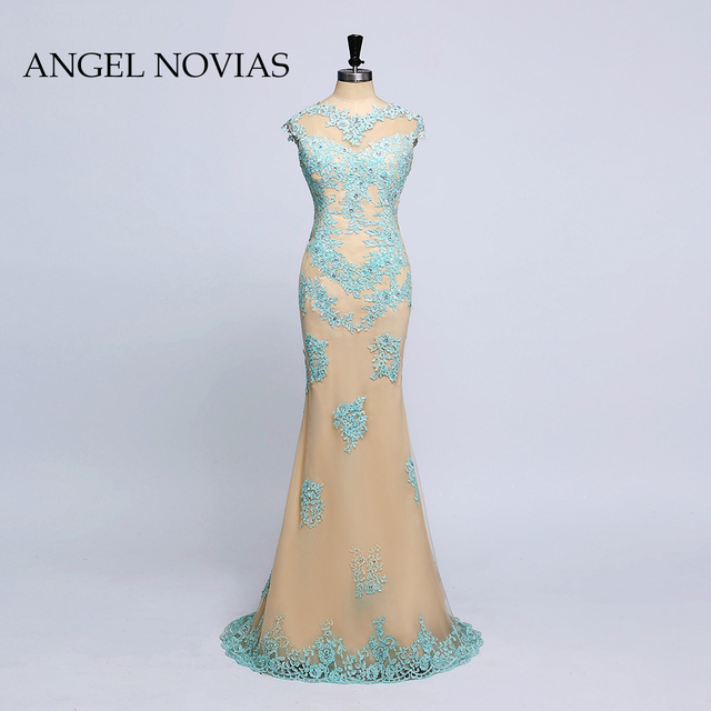 2018 Spring Long Champagne Elegant Prom Dress Lace Appliques Beaded