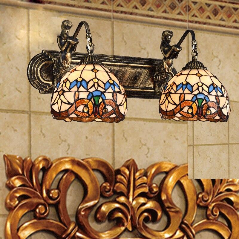 Vintage Retro Loft Tiffany Style Mermaid Staine Glass Wall Sconce - Ներքին լուսավորություն - Լուսանկար 2