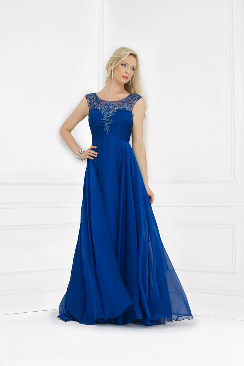 New Arrival 2014 Tank Floor Length Blue Evening Dresses Gown Appliques Beaded Pearls Chiffon Mother Of The Bride Dresses 2014