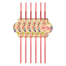 12pcs Flamingo theme Party Plastic Straws for Kids Birthday Decorations Disposable Drink