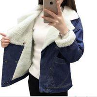 2018 New Women Basic Coat Bomber Jacket Women Winter Denim Jacket For Women Jeans Jacket Female Denim Coat Thicken casual style
