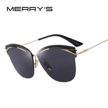 e98e42c4833 MERRY S Fashion Women Rimless Cat Eye Sunglasses Classic Brand Designer  Oversize Shades UV400 S 7982
