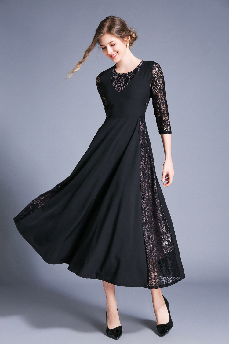 Retro Swing Hollow Out Lace A-Line Black Dress 6