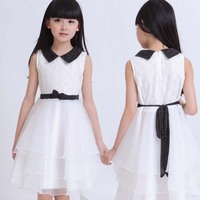 School Teenage Big Girls Princess Dress White Up To Size 160 170 Korean Style Age 12