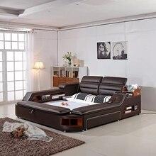 Массажная мягкая кровать из натуральной кожи для дома, спальни, мебель для спальни, camas, светится, muebles de dormitorio yatak, мобильный, кварто, bet