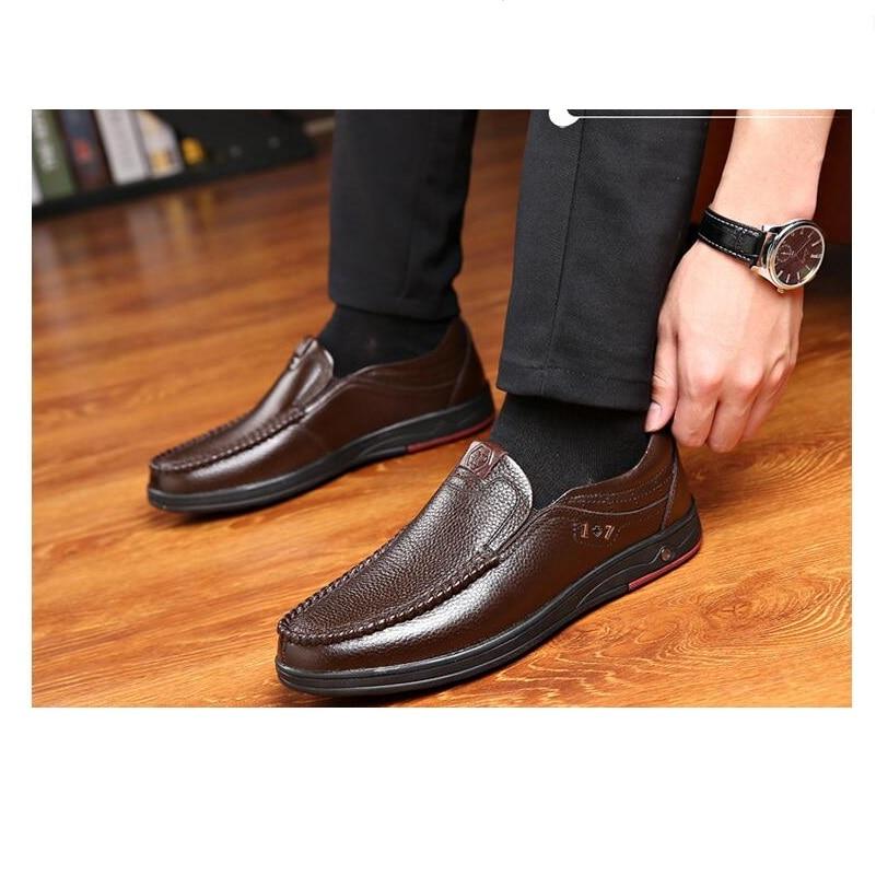 High Quality Cow Full Grain Leather Brand Soft Men Flats Fashion