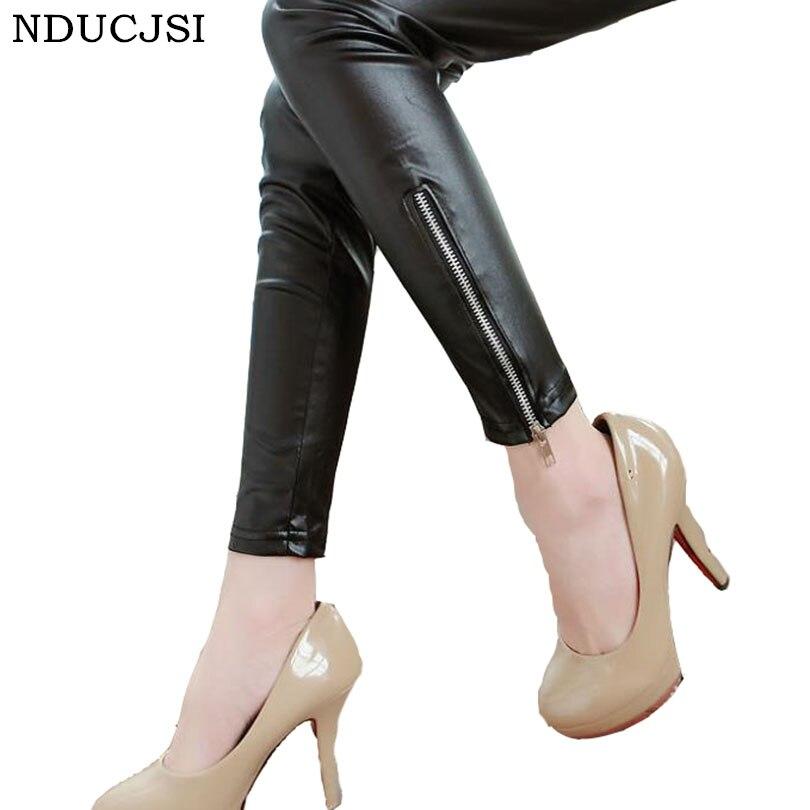 Autumn Leather Legging Mid Denim Roupas Sexy Zipper Women Slim Brand Seam High Elastic Solid Pencil Pants Girl Leggins Black