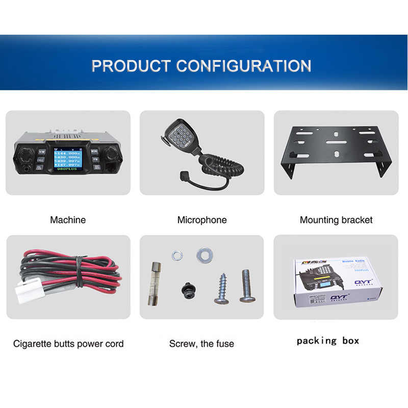 QYT kt-980plus radio de coche altavoces walkie talkie telsiz transceptor intercomunicador columna de doble banda potente