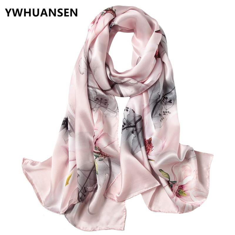 YWHUANSEN 175*52cm Real Silk Women Scarves Buy Direct From China Autumn Winter Chinese Style Chale Satin Face Lady Shawl Wraps