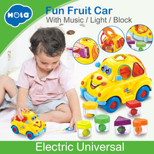 Купить с кэшбэком HOLA 516 Baby Toys Electronic Car with Music & Light & Puzzle & Fruit Shape Sorters Learning Educational Toys for Children