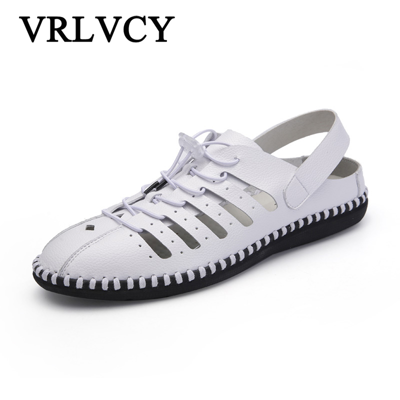 Summer mens sandals shoes fashion leather breathable hollow sandals casual soft bottom men flat shoes outdoor