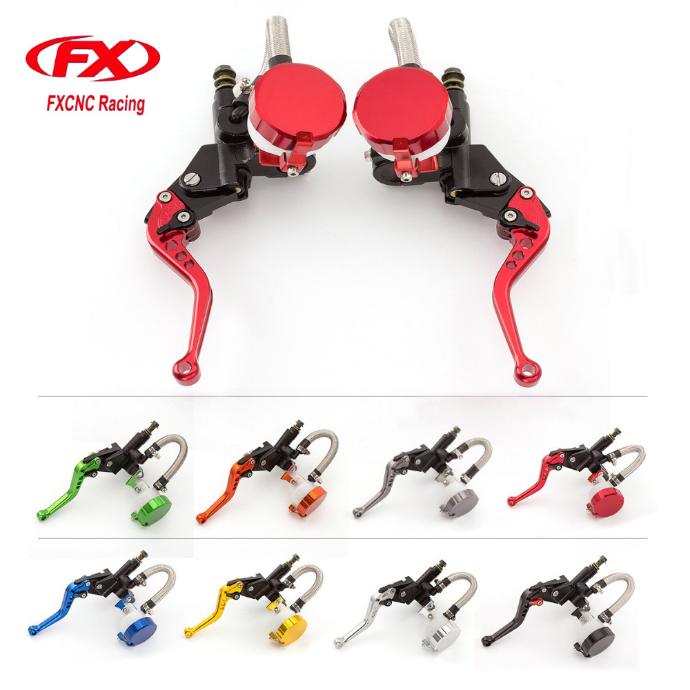 Universal Motorcycle Hydraulic Brake Clutch Levers Master Cylinder Reservoir Set For 125-600CC HONDA KAWASAKI SUZUKI YAMAHA for honda kawasaki suzuki yamaha 125cc 400cc 7 8 22mm universal brake clutch pump master cylinder kit reservoir levers new set