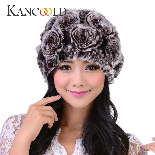 Women Fashion Rabbit Fur Knit Hat Female Handmade Thermal Cap Winter Lady Elegant Rose Beanies Head Warm Skullies Headwear Dec26 skullies female rabbit ear hat hat women s hair cap fashion cap winter cap fpc012