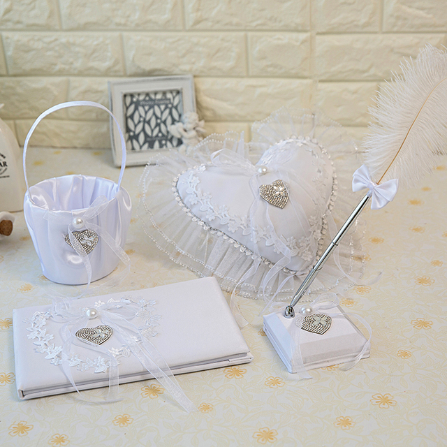 Four Pieces Set Guest Book Ring Pillow Pen Holder Flower Girls