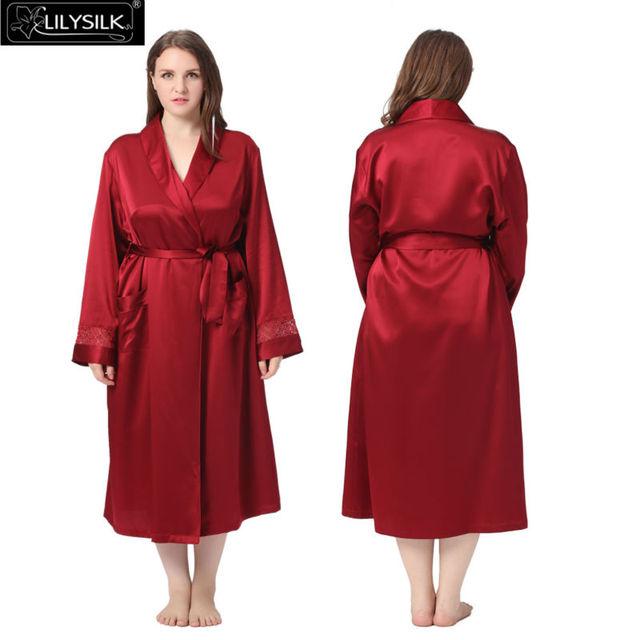 Bata de Seda de Las Mujeres Más El Tamaño 22 Momme Lilysilk 100% Puro Estilo Clásico de Manga Larga Ropa de Dormir Albornoz Kimono de Lujo Puro