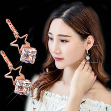2019 Exquisite Charm Hollow Star Earring Square Crystal Earing Rose Gold Color Brincos for Girl Party Gift Jewelry Pendientes