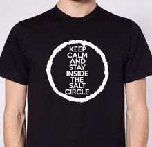 KEEP CALM SALT CIRCLE Premium Cotton T-shirt Supernatural Winchester Dean Sam Men T Shirt Print Short Sleeve