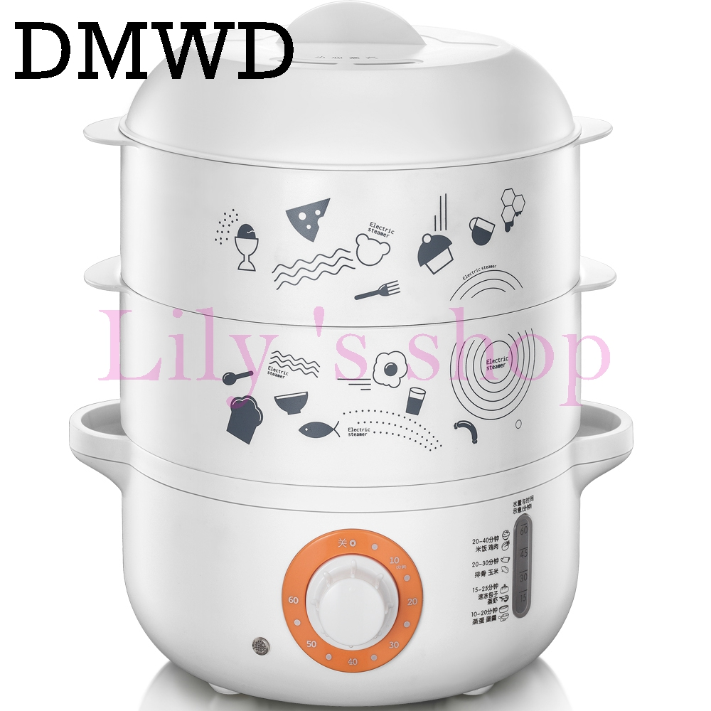 DMWD Multifunction Electric Hot Rice cooker Steamer mini food Warmer automatic insulation heating lunch box eggs Boiler 3 layers 220v 600w 1 2l portable multi cooker mini electric hot pot stainless steel inner electric cooker with steam lattice for students