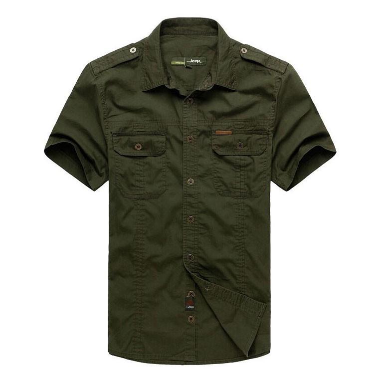 Plus Size xxxxxl Summer Men\'s 100% Cotton Shirts Solid Color Fitness Dress Short Sleeve Shirts Casual Outdoor Men AFS JEEP 5001 (3)