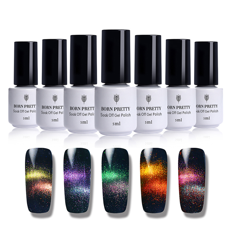 Born Pretty Holographic Chameleon Cat Eyes Nail Gel 5ml Magnetic Soak Off Uv Gel Manicure Nail Art Varnish Black Base Needed #6