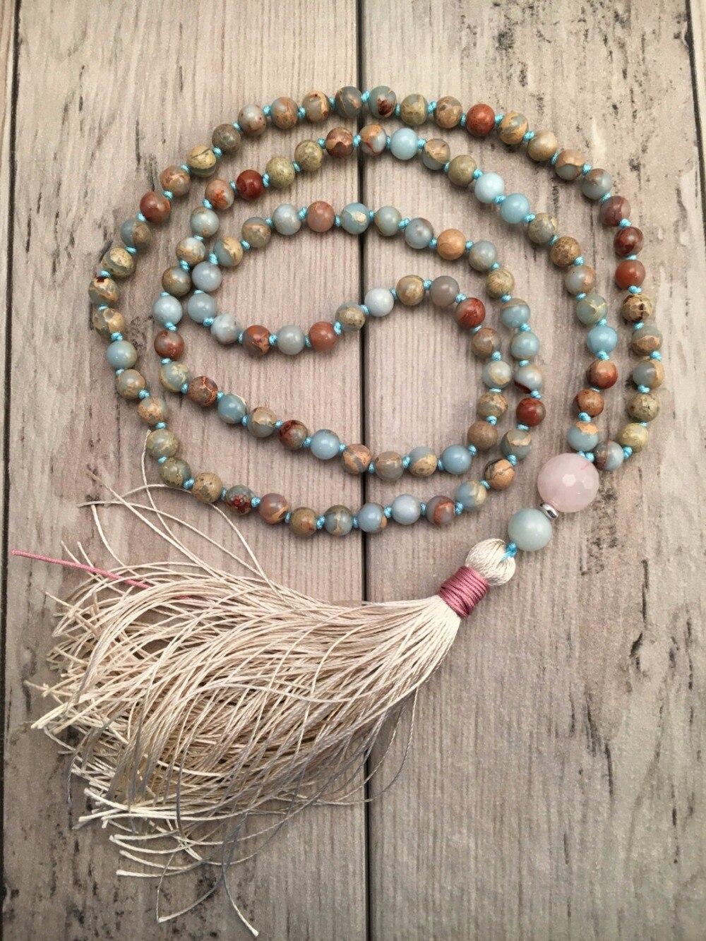 Aqua Terra Jaspers Hand Knotted Necklace 108 Mala Bead Necklace Tassel Necklaces Yoga Mala Meditation Jewelry Prayer Necklaces