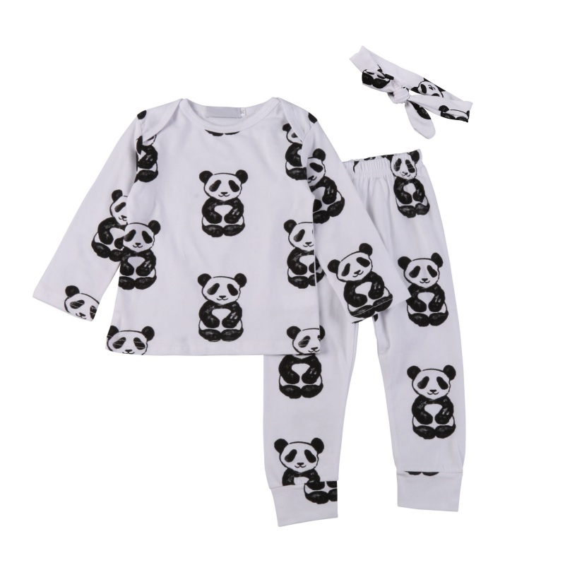 Autumn Newborn Baby Boy Girl Set Cotton Long Sleeve T-shirt + Pants +Head Accessories 3 Pcs Clothing Sets Hot Sale