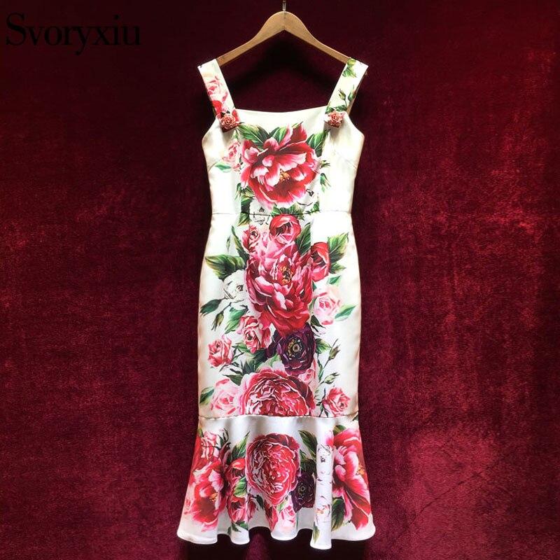 Svoryxiu 2019 D'été Piste Sexy Mince robe fourreau de Femmes Chic Rose Bouton Floral Imprimer Vacances Spaghetti robe à bretelles