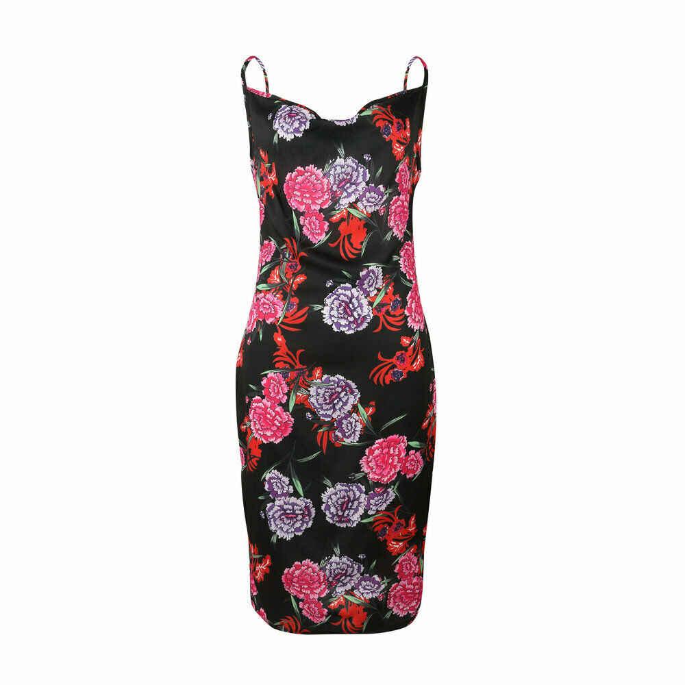 Hirigin femmes mode à bretelles Midi Rose robe imprimée été plage côté fendu robes de soleil vacances