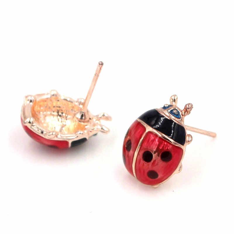 Ladybug ใหม่รอบต่างหูน่ารัก Anime Stud ต่างหูของขวัญเด็กเงินแก้วเครื่องประดับ Cabochon หู Studs