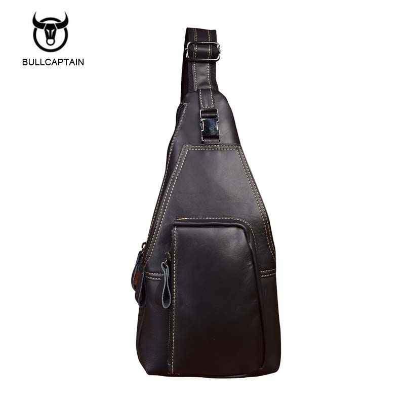 Brand Vintage Genuine Leather Man Shoulder Bags Casual Travel Men Chest Sling Pack High Quality Crossbody Bag 2017 new trend fashion retro oil wax genuine leather men chest pack sling shoulder bag casual travel zipper bags vintage