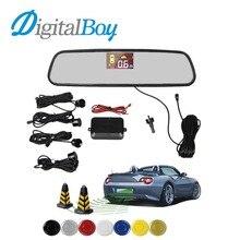 Digitalboy Espejo Retrovisor de Coche LCD Sensor de Aparcamiento Marcha Atrás kit de Reserva del Estacionamiento con 4 Sensores de Reversa de Seguridad Bi-Bi alerta