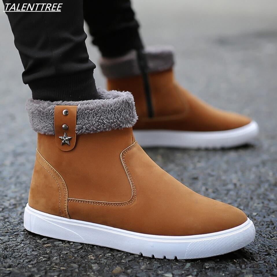 Men Winter Shoes Ankle mens Snow Boots bota masculina Plush Inside Antiskid Bottom Keep Warm Waterproof Ski Boots botas hombre