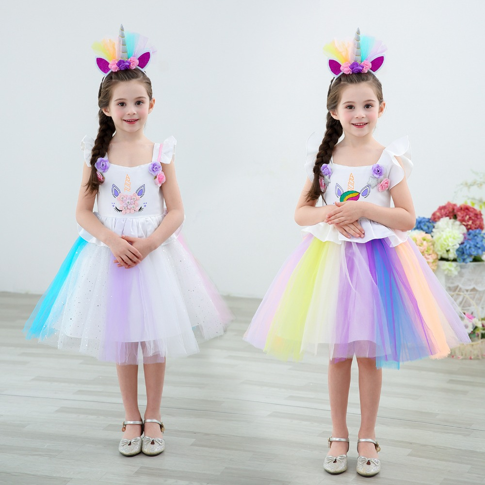 Kids Dresses For Girls Unicorn Fancy Dress Costumes Unicorn Cosplay Dresses Tutu Wedding Party Princess Dress for Children's Day