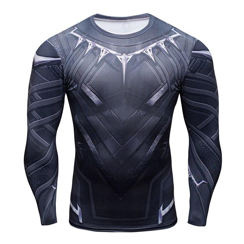 Black Panther compression T-shirt men long sleeve 3d captain America civil war iron man 3 G YM tops tee summer tights t shirt