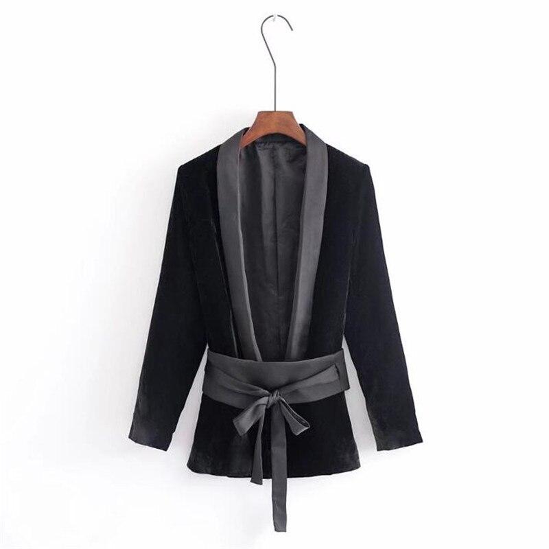 High Quality Black Velvet Women Blazers Coat Deep V Neck Slim Suit Jacket Female Casual Long Sleeve 2018 New Fashion Ds5034