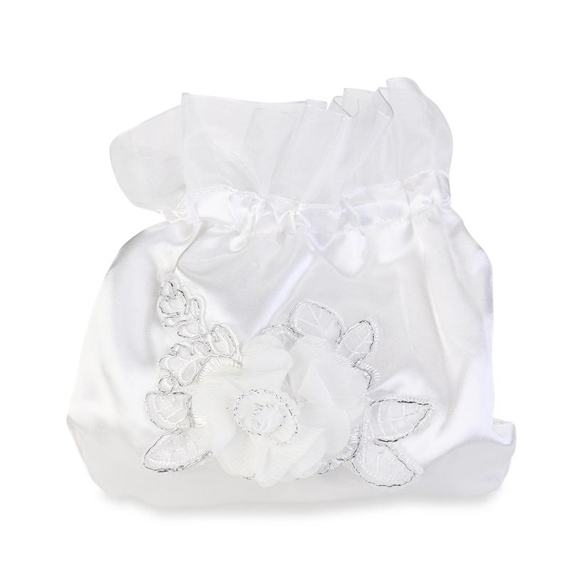 39a9584745a0 White Bridal Bridesmaid Satin Flower Decorated Dolly Bag Handbag Evening Bag  Ladies Wedding Purse Party Messenger Clutch