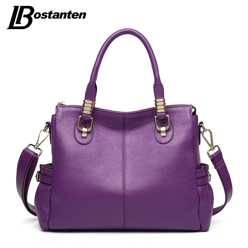 цена на BOSTANTEN Large Genuine Leather Tote Bag 2017 Luxury Women Shoulder bags Fashion Business Women Bag Brand Handbag Bolsa Feminina