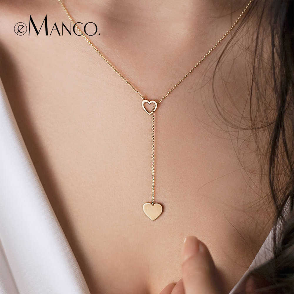 eManco Cute Heart Shape Pendant Choker Necklaces for Women Simple Design Gold-Color Chain Fashion Jewelry Ras Du Cou Femme Gifts