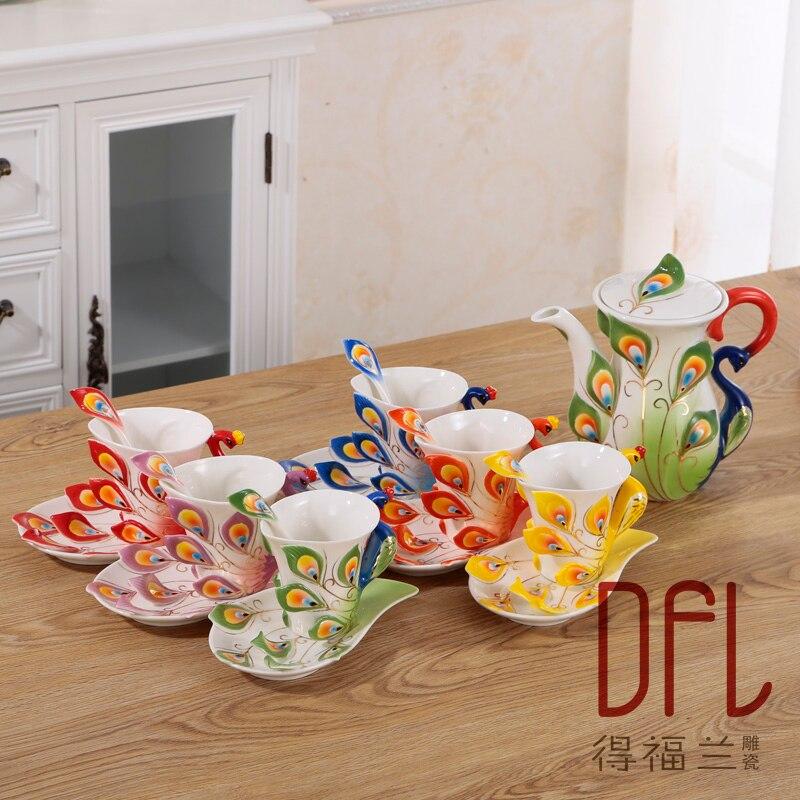 Color Enamel Peacock Coffee Tea set Kettle Mug Cup Sets Creative Bone China Tea Milk Drinkware Caneca Criativa De Porcelana