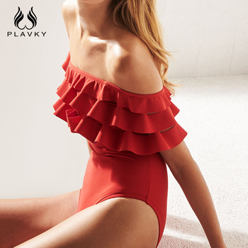 PLAVKY Sexy Solid Ruffle Off Shoulder Hollow Out Trikini Swim Wear Bathing Suit Monokini Thong Swimwear Women One Piece Swimsuit