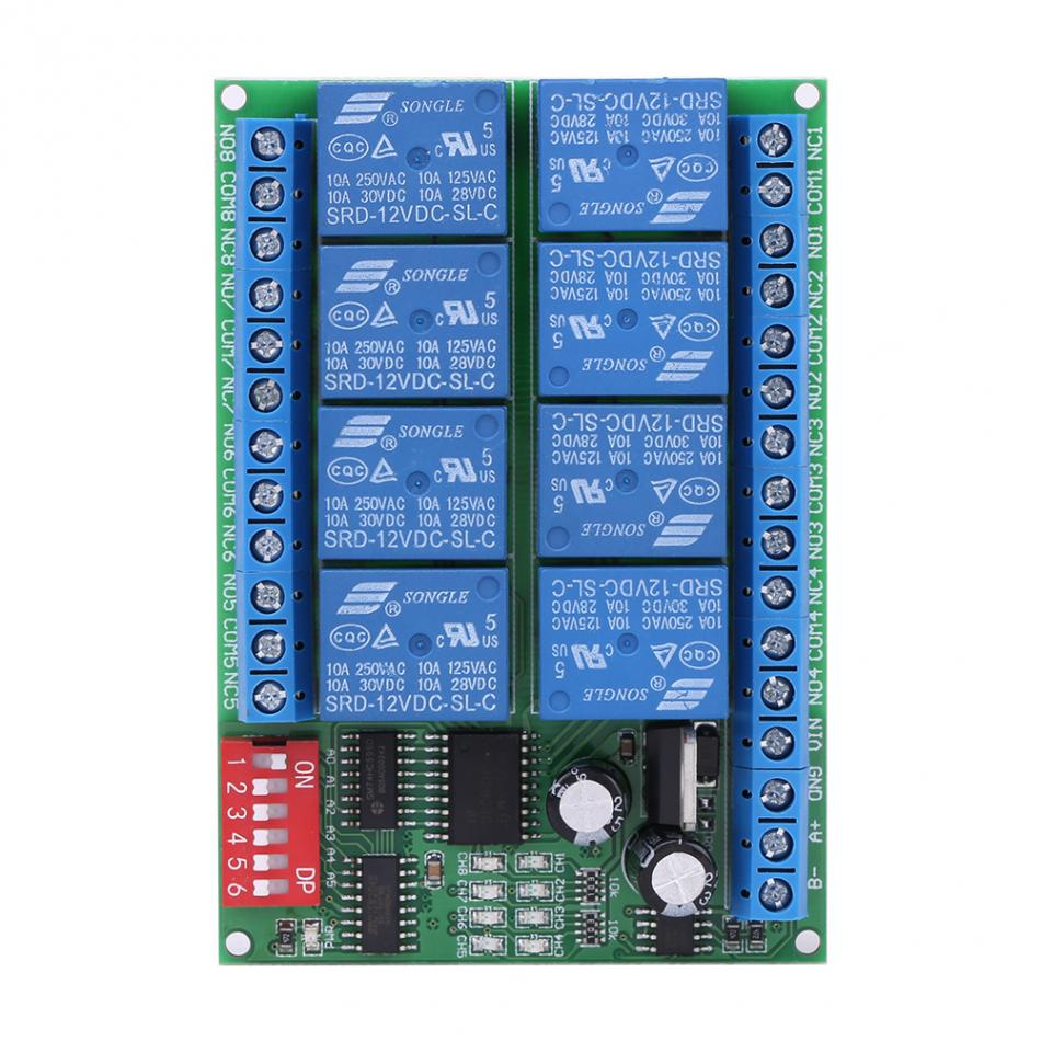 DC 12V Relay 8 Channel Relay Module RS485 Relay Command Programmable Control Module Board 12v 8 channel programmable relay module usb computer control for smart home s